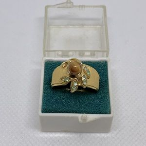 Vintage 14k Gold Filled Tigers Eye Rhinestone Ring
